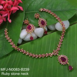Ruby,Emerald Stones Flower With Leafs Design Gold Plat Finished Necklace Buy Online