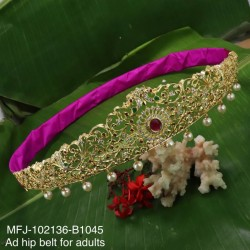 CZ, Ruby & Emerald Stones With Pearls Drops Flowers Design Gold Plated Finish 30 Inch Hip Belt Buy Online