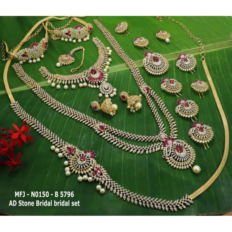 4d1142e6b0650 CZ,Ruby Stones With Pearls Drops Flower Design Gold Plated Finished Full  Bridal Set Buy Online