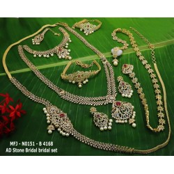 CZ,Ruby Stones With Pearls Drops Flower Design Gold Plated Finished Full Bridal Set  Buy Online
