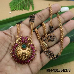 Ruby&Emerald Stones Three Lined Black Beats Flower Design Mat Finish Pendant Set With Designer Chain Buy Online