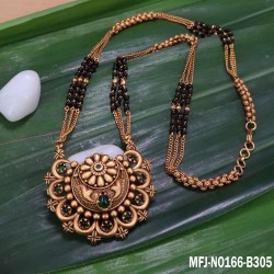 Ruby&Emerald Stones Three Lined Black Beats Peacock Design Mat Finish Pendant With Designer Chain Buy Online
