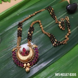 Ruby&Emerald Stones Three Lined Black Beats Design Mat Finish Pendant With Designer Chain Buy Online