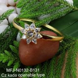 Blue Stones Flower Design Gold plated Finish Open Type Kada Bangles Buy Online