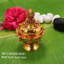 Ruby,Emerald Stones Mat Finished Lakshmi With Three In one Design Kum Kum Box Buy Online