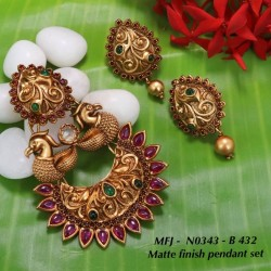 Ruby Stones With Golden Ball Double Peacock With Moon Design Mat Finish Pendant Set Buy Online