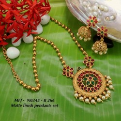 Ruby&Emerald Stones With Golden Ball Double Peacock With Moon Design Mat Finish Pendant Set Buy Online