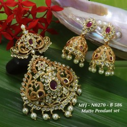 Ruby&Emerald Stones With Pearls Drops Flower With Golden Ball Chain Design Mat Finish Pendant Set Buy Online