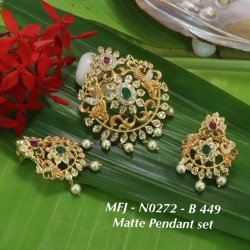 CZ,Ruby Stones With Pearls Drops Flower With Peacock Design Mat&Gold plat Finish Pendant Set Buy Online