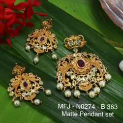 CZ,Ruby&Emerald Stones With Pearls Drops Flower With Peacock Design Mat&Gold plat Finish Pendant Set Buy Online