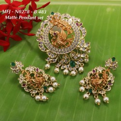 CZ,Ruby&Emerald Stones With Pearls Drops Peacock With Flower Design Mat&Gold plat Finish Pendant Set Buy Online