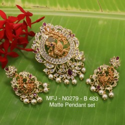 CZ,Ruby&Emerald Stones With Pearls Drops Peacock Design Mat&Gold plat Finish Pendant Set Buy Online