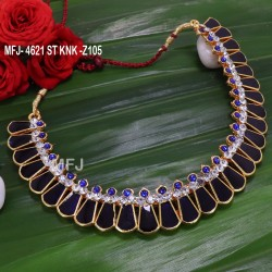 CZ,Blue&Black Stones Pearls Design Necklace For Bharatanatyam Dance And Temple Buy Online