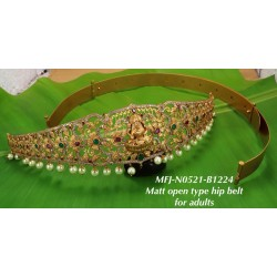 Ruby,Emerald  Stones With Pearls Drops Peacock With Lakshmi Design Mat Finish Hip Belt For Adults Buy Online