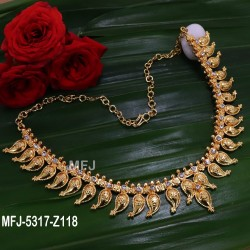 Kempu Red,Green Stones Pearls Mango Design Necklace For Bharatanatyam Dance And Temple Buy Online