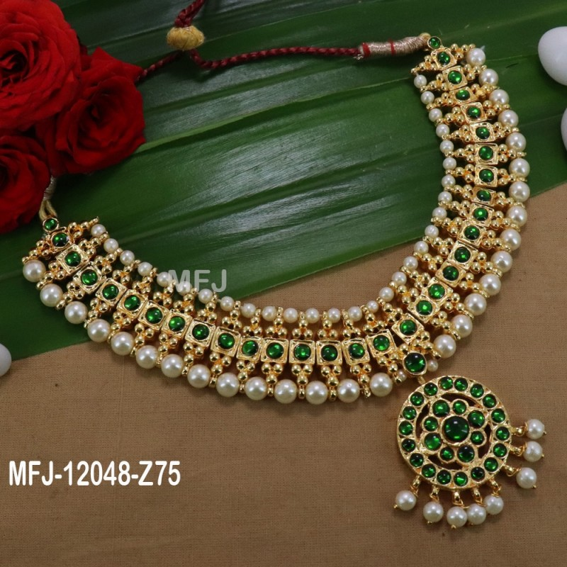 Green Stones With Pearls Flower Design Necklace For Bharatanatyam