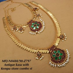 CZ,Ruby Stones With Pearls Drops Flower With Peacock Design Gold Plated Finished Full Bridal Set Buy Online
