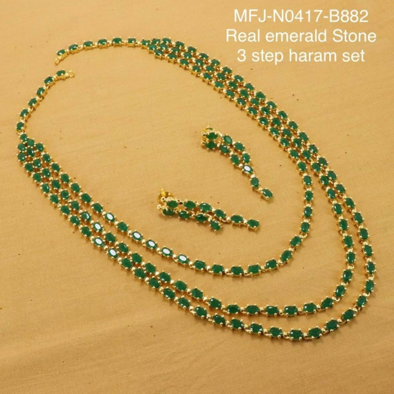 2b7149b77ad0e Emerald Stones Three Steps Design Gold Plated Finish Haram Set Buy Online