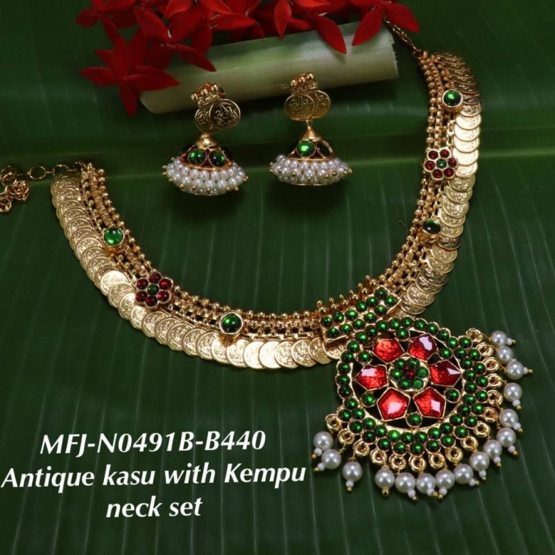 a93186dbfb Blue&Green Stones With Pearls Antique Kasu With Kempu Design Necklace For  Bharatanatyam Dance And Temple Buy