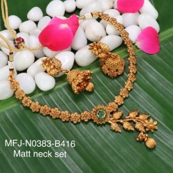 Red,Green Stoned With Golden Ball Flower & Leafs Design Matte Plated Finished Neck Set Buy Online