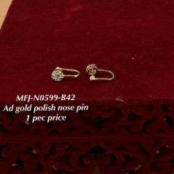 CZ & Ruby& Emerald Stones With Perls Fish Design Gold Plated Finish Nose Pin Buy Online