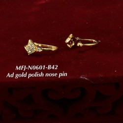 CZ AD Stones Gold Polish Finished Design Nose Pin Buy Online