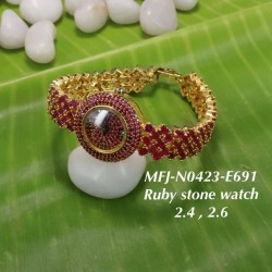 CZ,Ruby&Emerald Stones Flower Design Gold Plated Finish Watch(2.4,2.6) Can Ware Buy Online