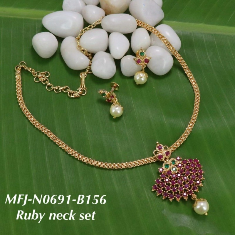 Ruby Emerald Stones With Pearl Flower Design Gold Plat Necklace