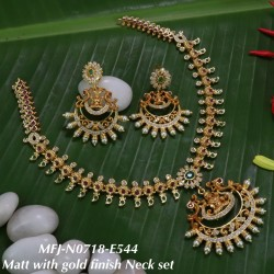 Blue Stoned With Golden Ball Flower & Leafs Design Matte Plated Finished Neck Set Buy Online
