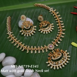 CZ,Ruby Stoned With Pearls Mango And Flower Design Mat With Gold  Plated Finished Neck Set Buy Online