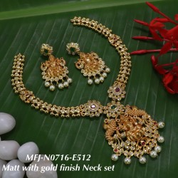 CZ,Ruby Stoned With Pearls Lakshmi With Mango Design Mat With Gold  Plated Finished Neck Set Buy Online