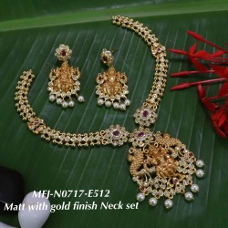 CZ,Ruby&Emerald Stoned With Pearls Lakshmi Design Mat With Gold  Plated Finished Neck Set Buy Online
