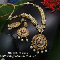 CZ,Ruby Stoned With Pearls Lakshmi Design Mat With Gold  Plated Finished Neck Set Buy Online