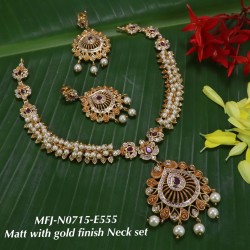 CZ,Ruby&Emerald Stoned With Pearls Flower Design Mat With Gold  Plated Finished Neck Set Buy Online