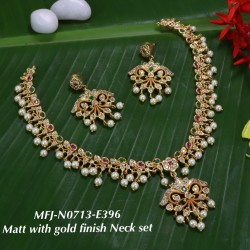 CZ,Ruby Stoned With Pearls Flower Design Mat With Gold  Plated Finished Neck Set Buy Online