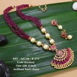 Ruby,Emerald Stones with Golden Balls Pearls Chain&Flower Design Gold Plat 8 inch Necklace Set Buy Online