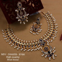 Emerald Stones with Pearls Drops Mango With Flower Design Gold Plat High Quality Necklace Set Buy Online