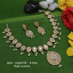 Emerald Stones with Pearls Drops Flower Design Gold Plat High Quality Necklace Set Buy Online