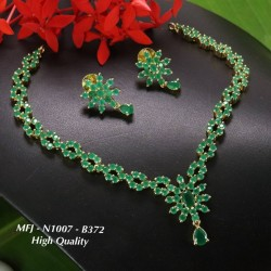 Ruby,Emerald Stoned Flower Design Gold Plated Finish High Quality Necklace Set Buy Online