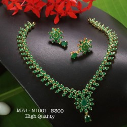 Emerald Stoned Flower Design Gold Plated Finish High Quality Necklace Set Buy Online