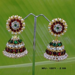 Wight,Red,Green Stones With Pearls Design Jumkas For Bharatanatyam Dance And Temple Buy Online