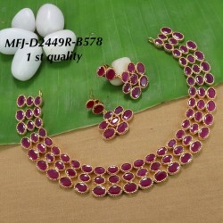 Ruby Stoned With Pearls Flower Design Gold Plated Finish Premium Quality Necklace Set Buy Online