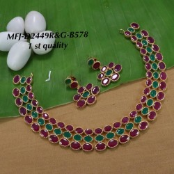 Ruby Stoned Flower Design Gold Plated Finish First Quality Necklace Set Buy Online