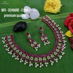 Ruby Stoned With Pearls Drops Flower Design Gold Plated Finish Premium Quality Necklace Set Buy Online