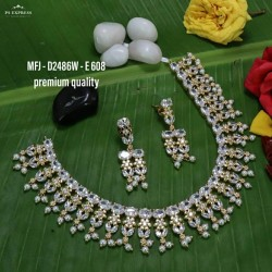Ruby,Emerald Stoned With Pearls Drops Flower Design Gold Plated Finish Premium Quality Necklace Set Buy Online