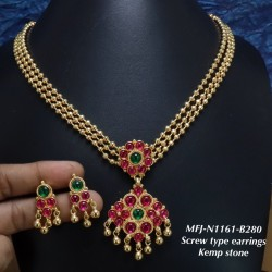 Ruby,Emerald Stoned With Golden Balls Lakshmi,Four Layer Chain Push Type Earring Design Gold Finish Necklace Set Buy Online