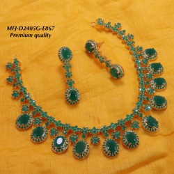 Blue Stoned Flower Design Gold Plated Finish Premium Quality Necklace Set Buy Online