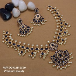 Wight Stoned Double Flower Design Gold Plated Finish Premium Quality Necklace Set Buy Online
