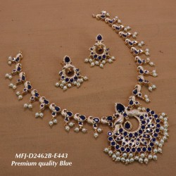 Wight Stoned With Pearls Flower Design Gold Plated Finish Premium Quality Necklace Set Buy Online