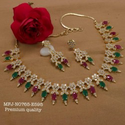 Emerald Stoned With Pearls Peacock Design Gold Plated Finish Premium Quality Necklace Set Buy Online